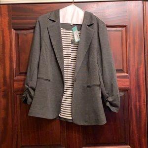NWT 41Hawthorne 3/4 Ruched Sleeve Blazer